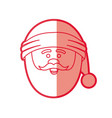 red silhouette of santa claus face with christmas vector image