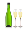 champagne and a glasses vector image vector image