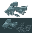 Black Moor Goldfish Hand drawn set vector image
