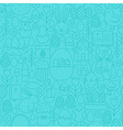 Thin Happy Easter Line Seamless Blue Pattern vector image