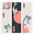 Three vertical banners with carp koi fish swimming vector image