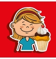 girl cup cake dessert vector image