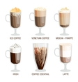 Coffee cups different cafe drinks vector image
