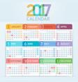 calendar 2017 print template design vector image vector image