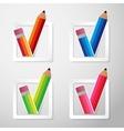 Flat Color Paper Pencils Check Box vector image