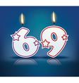 Birthday candle number 69 vector image