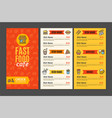 fastfood and street food menu cafe vector image