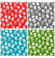set christmas patterns with gift boxes on a color vector image