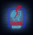 vape shop neon icon logo isolated vector image