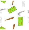 Baseball game equipment pattern cartoon style vector image