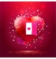 Heart with door and young heart on red vector image