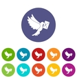 Dove carrying envelope set icons vector image