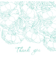 Watercolor floral thank you card vector image