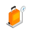 Luggage on scales 3d isometric icon vector image