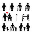 Old people seniors with walking stick vector image