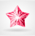 ruby five pointed star in triangular design vector image