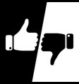 vote thumbs up icon in black and white inverse vector image