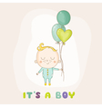 Baby Boy with Balloons - Baby Shower vector image