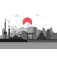 Silhouette of Tokyo city in JapanJapan landmarks vector image vector image