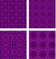 Purple seamless mosaic pattern background set vector image