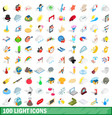 100 light icons set isometric 3d style vector image