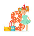 smiling happy eight year old girl in a red party vector image