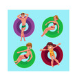 people floating on inflatable rings in swimming vector image