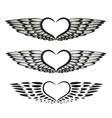 Hearts wings tribal tattoo vector image vector image