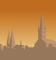 Contour of the old city on an orange background vector image
