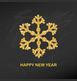 golden glitter snowflake happy new year greeting vector image