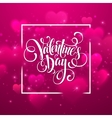 Happy valentines day handwritten text on blurred vector image