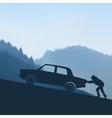 pushing a car vector image