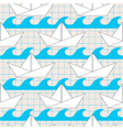 seamless pattern with paper boats on the waves vector image