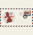 envelope with map and flag of great britain