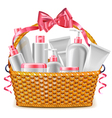 Gift Basket with Cosmetics vector image
