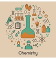 Chemistry Line Art Thin Icons Set with DNA vector image