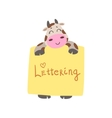 Cow With The Template For The Message vector image