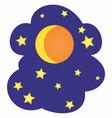 moon and stars cartoon vector image