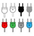 plug set black grey white red green blue color vector image