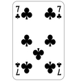 Poker playing card 7 club vector image