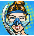 pop art of woman in scuba vector image