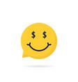wealthy emoji speech bubble logo vector image