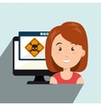 woman pc virus design vector image