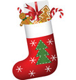 Christmas sock full of gifts vector image
