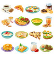 breakfast brunch menu food icons set vector image