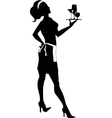 Silhouette of a cocktail waitress vector image