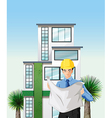 An engineer outside the tall building vector image