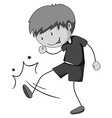Little boy in gray kicking vector image vector image