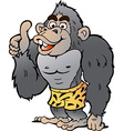 Cartoon of a Strong Gorilla giving Thumb Up vector image vector image