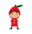 Child Wearing Costume of Red Apple vector image